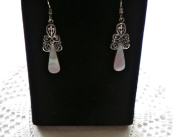 Vintage Sterling Silver & Mother of Pearl Dangle Drop Earrings Signed Oboma 925