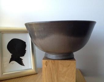 SALE - Vintage Oaxaca Black Clay Bowl