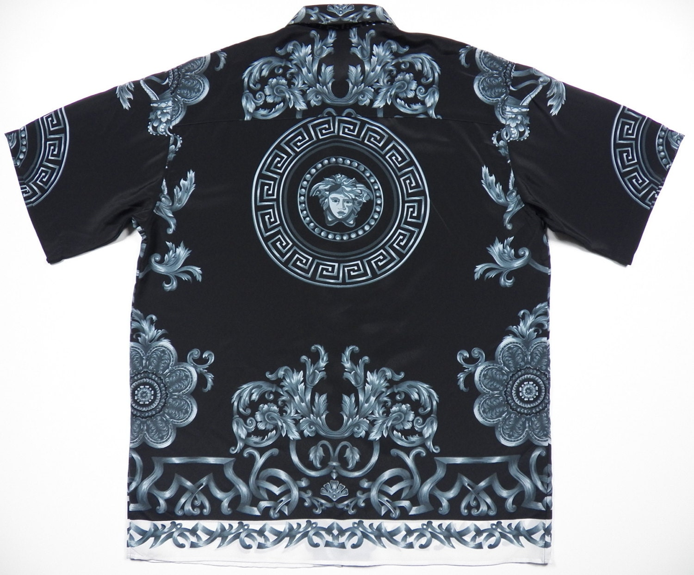 Versace style mens xl rayon short sleeve shirt black n white for Versace style shirt mens