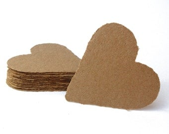 Brown Kraft hearts, handmade paper, recycled, deckle edge, set of 10