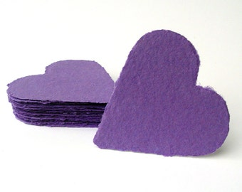 Purple hearts, handmade paper, recycled, deckle edge, set of 10