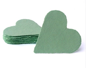 Mint green hearts, handmade paper, recycled, deckle edge, set of 10