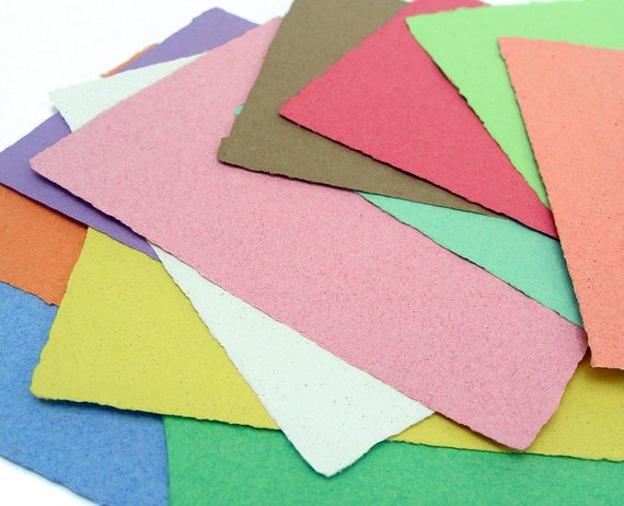 Handmade paper sample set, recycled, 4 1/4 x 5 1/2 inches,10 sheets