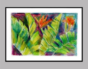 Jungle Leaves Painting in Mixed Media
