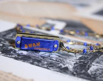 Mini Blue Harmonica Necklace