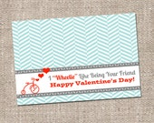 Tricycle Valentine's Day Kids Treat Snack Bag Topper - Instant Download - Printable DIY - Boy Girl