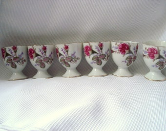 Vintage Egg Cups Set of 6 Pink Moss Rose Made in Japan Shabby Chic