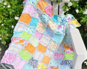 Bright Modern Baby Girl Rag Quilt out of Twirl 37 X 39 inches