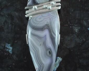 SATURN REVEALED laguna agate and fine silver pendant