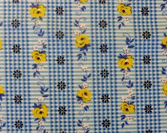 Floral Stripe in Blue by  Yuwa of Japan