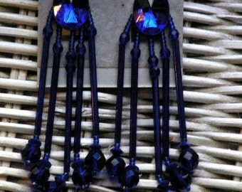 Cobalt blue earrings - imported glass bugles, beads and cabochon