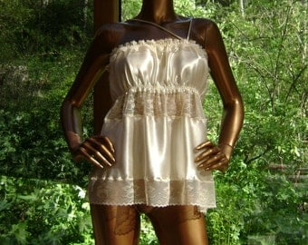 Camisole in Cream Silk Charmeuse with Hand Embroidery throughout the Cream Lace