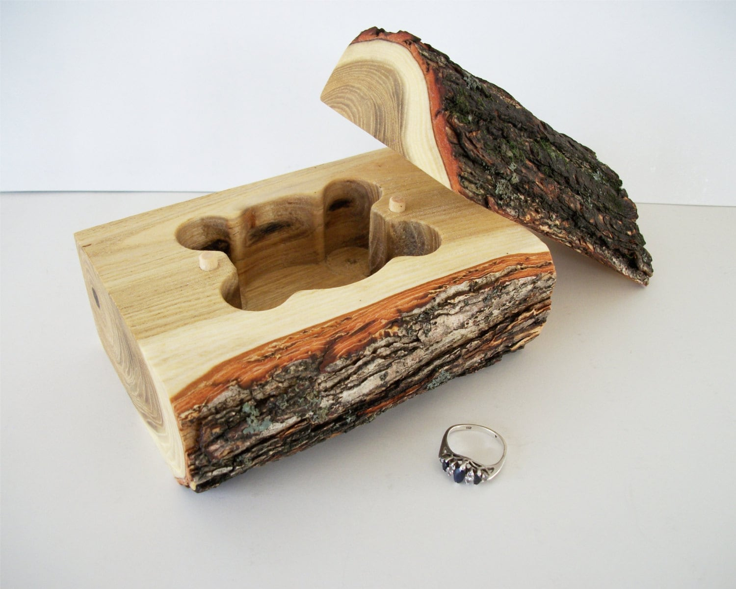 rustic log jewelry box shaped cavity tree by