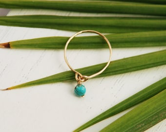 Thin gold ring, dainty ring, tiny turquoise ring, minimalist ring, simple gold ring, gold ring, gold filled ring