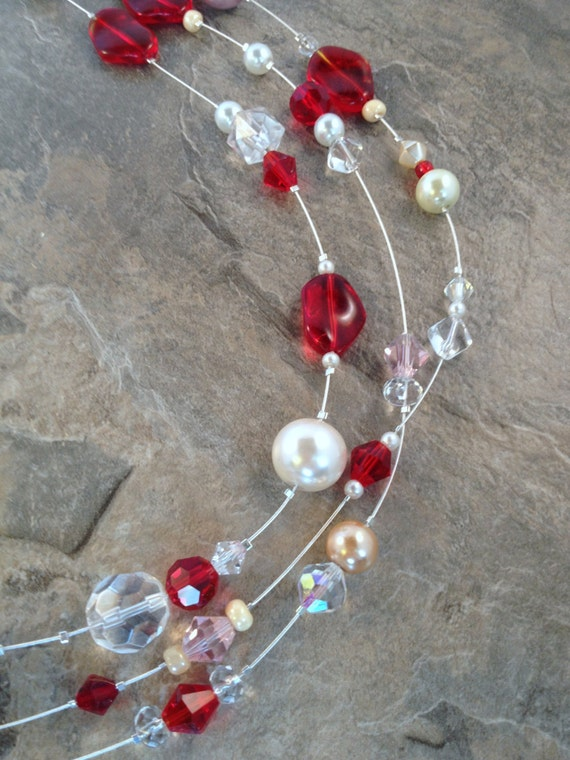 Red, Pink and Pearl Valentine's Day Necklace