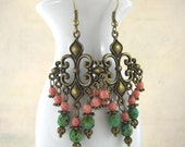Bohemian style Earrings - Chandelier Earrings - Beads Earrings - Antique Bronze Fleur de Lis - Czech Glass Beads