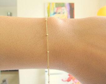Satellite chain braclet - Satellite Bracelet - Gold Satellite - Silver Satellite - Dot bracelet - Beaded bracelet, 14k gold filled bracelet