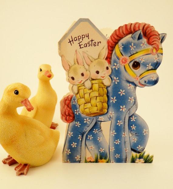 Vintage Easter Card Juvenile Die Cut Happy Easter Bunnies, Horse