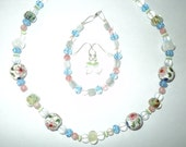 White, Pastel Pink, Green and Blue Lampwork,  Quartz, Moonstone, and Cloisonne Jewelry Set