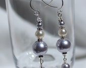 Pearly Purple & White Dangler Earrings