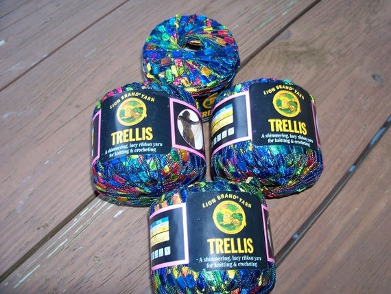 lion brand trellis ribbon yarn 3 1 3 balls free shipping