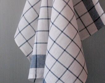 Linen Cotton Dish Towels Tea Towels set of 2 White Blue