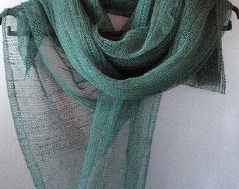 Linen Scarf Shawl Wrap Stole Green Light Transparent SALE