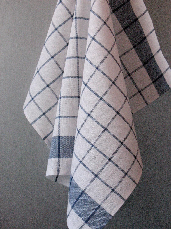 linen cotton dish towels tea towels set of 2 white blue. Black Bedroom Furniture Sets. Home Design Ideas
