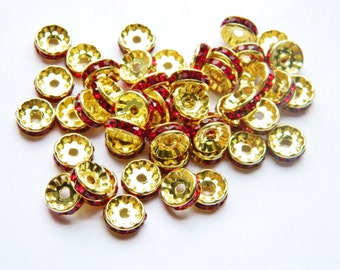 50 Rondelle Spacer Beads for Basketball Wives Jewelry Rondelle Rhinestone Spacers, Jewelry Findings 10 mm