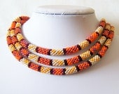 Long Beaded Crochet Rope - Fall Fashion - Geometric  - Patchwork - colorful bohemian jewelry - seed bead necklace - Orange - Red - Beige - lutita