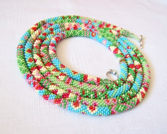 Crocheting Necklaces With Beads : Long Beaded Crochet Rope Necklace - Beadwork - Seed beads jewelry ...