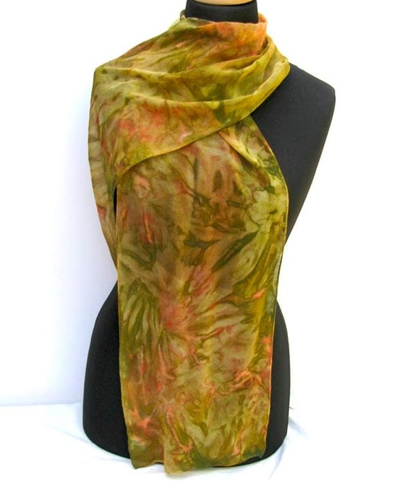 Hand Painted Silk Scarf, Olive Moss Green, Peach, Salmon, Ecru, Extra Long OOAK