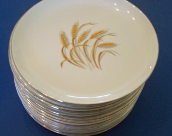 Homer Laughlin Duz Detergent Golden Wheat Pattern - Vintage Luncheon Plates 22 kt Gold - Set of  4 (2 Sets Available)