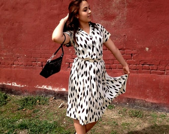 Vintage 50s Black & White Dress by Marcy Lee Dallas