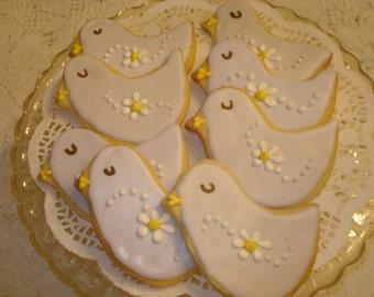 Sweet Love Bird Decorated Sugar Cookies for Shower, Wedding, Birthday - 1 Dozen
