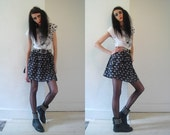 70's black and white short pleated quirky cat print skirt