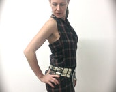 Dress - Tartan halter neck, cross-wrap with vintage leather buckle fastening behind the neck.