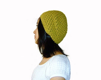 Sale 20% OFF - Hand Knitted Slouch Hat in Lime Green - Trinity Stitch Beanie - Seamless Hat - Wool Blend - Winter Hat - Ready to Ship