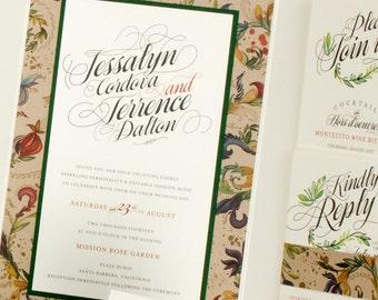Garden Wedding Invitation, Vintage Garden Wedding Invitation, Vintage Wedding Invitation, Modern Wedding Invitation, Vintage Gold Wedding