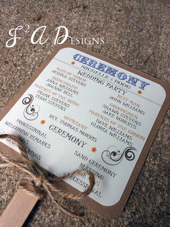 Country western rustic wedding fan program by 1stimpressioninvites for Rustic wedding program fans