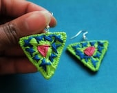 Neon Geometric Embroidered Thread Wrap Coil Earrings in Lime, Hot Pink and Blue