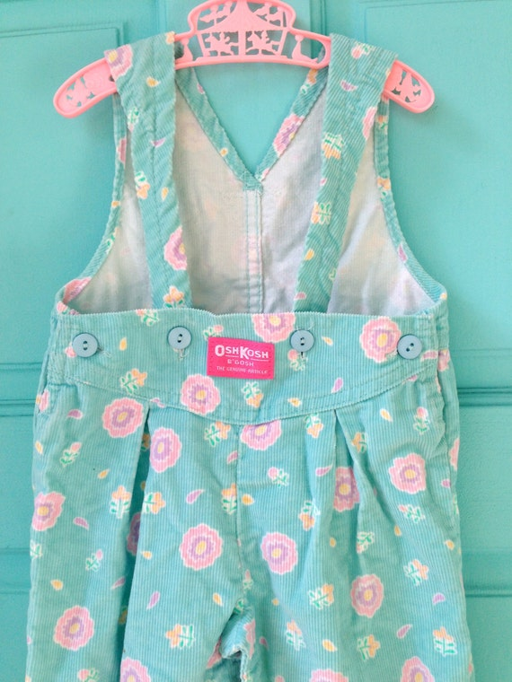 Vintage 80s Osh Kosh Aqua Overalls with Balloon Pants Hipster 12 Months