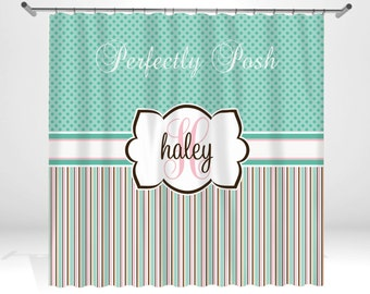 Personalized Stripe Shower Curtain