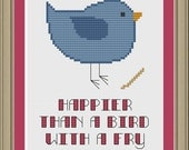 Happier than a bird with a fry: cute cross-stitch pattern