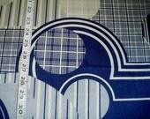 "70s 46"" W x 1.7 yds Silky Nylon Knit Geometric Print Fabric Navy Blue"