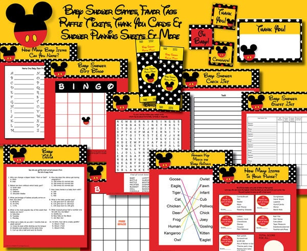 INSTANT DOWNLOAD Mickey Mouse Boy Neutral Baby Shower