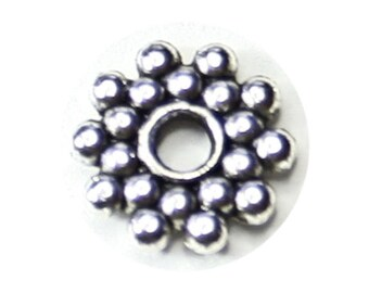 Spacer Double Daisy Silver Tone - 9mm (100)