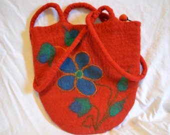 Vintage Red Flower Purse
