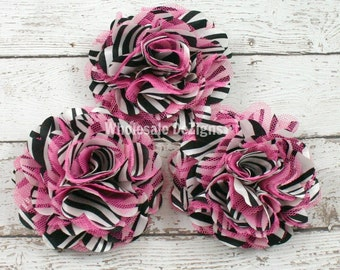 Clearance Hot Pink Zebra Satin and Tulle Ruffled Flower Puff - Animal Print - 3""