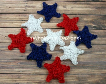 "Mini Chiffon Star Rosettes - Red White and Blue - Fourth of July Stars - 2"" - 2.5"""